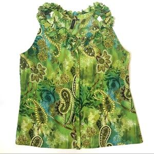 Sioni Embellished Sleeveless Top Green Gold L